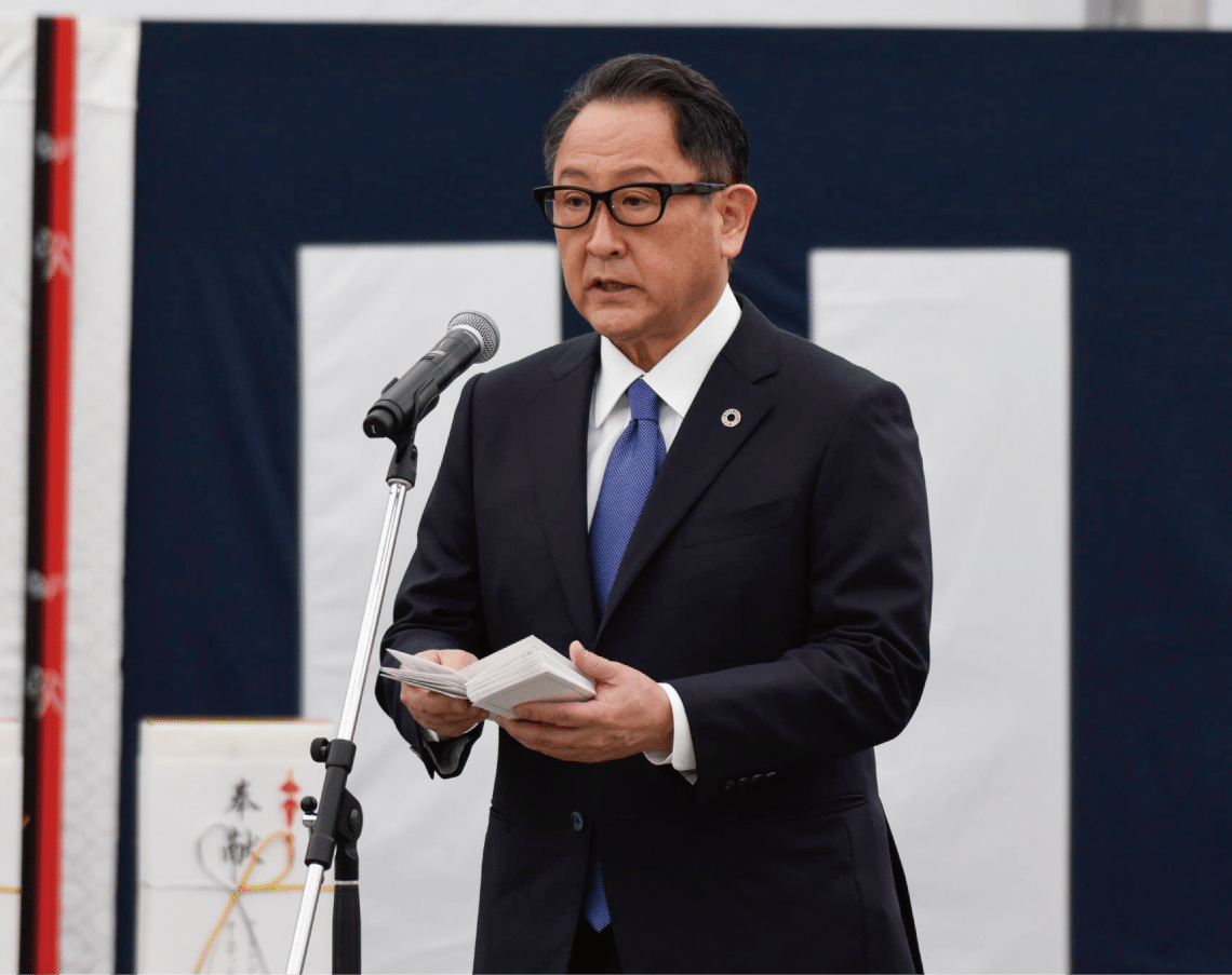 2021年2月23日、東富士工場跡地に隣接する旧車両ヤードにて地鎮祭が実施された。(写真は豊田章男社長のスピーチ)